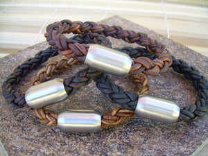 Thick Braided Leather Bracelet with Matte Stainless Steel Magnetic Clasp - Urban Survival Gear USA