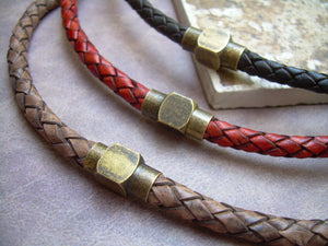 Mens Leather Necklace,  Antique Brass , Magnetic Clasp, Braided Leather Necklace, Mens Necklace,Mens Jewelry, Brass, Mens Gift, Gift for Him