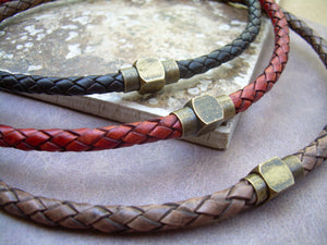 Mens Leather Necklace,  Antique Brass , Magnetic Clasp, Braided Leather Necklace, Mens Necklace,Mens Jewelry, Brass, Mens Gift, Gift for Him - Urban Survival Gear USA