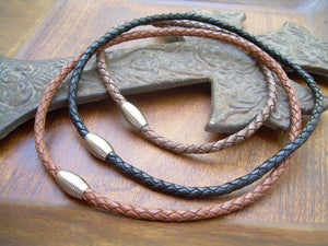 Braided Leather Necklace with Matted Stainless Steel Magnetic Clasp - Urban Survival Gear USA