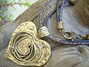 Large Heart Pendant Necklace, Heart Pendant on a Leather Necklace, Heart Necklace, Womens Jewelry, Heart Pendant, Pendant, Womens Gift, - Urban Survival Gear USA