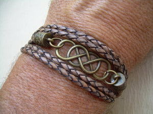 Double Infinity Leather Bracelet with Antique Bronze Hardware - Urban Survival Gear USA