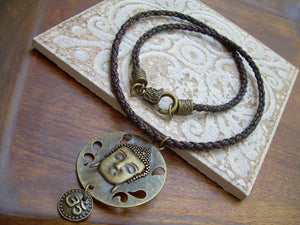 Large Bronze Buddah Pendant and Om Charm Leather Necklace - Urban Survival Gear USA