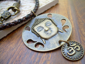Buddha Necklace, Om Necklace, Buddha Jewelry, Braided Leather Necklace, Om, Namaste,Yoga Jewelry,Womens Necklace,Womens Jewelry, Buddha - Urban Survival Gear USA