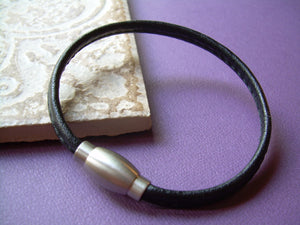 Nappa Leather Bracelet with a Matted Stainless Steel Magnetic Clasp