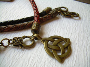 Antique Bronze Triquetra Pendant on a Leather Necklace - Urban Survival Gear USA