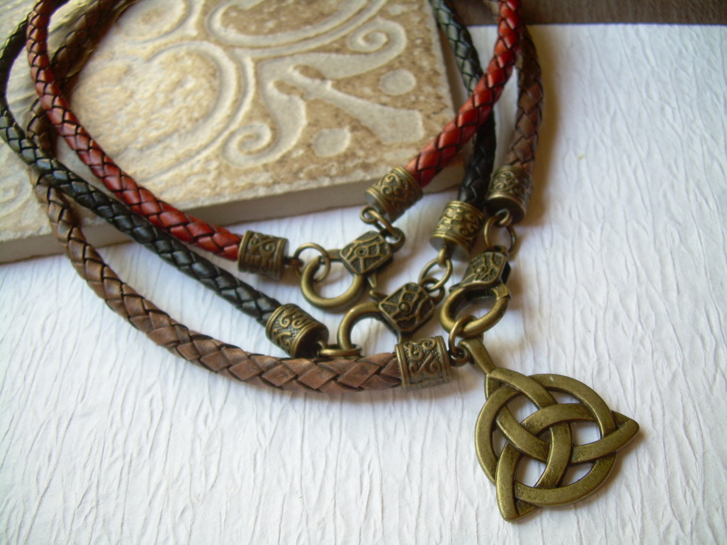 Mens Braided Leather Necklace With An Antique Bronze Triquetra