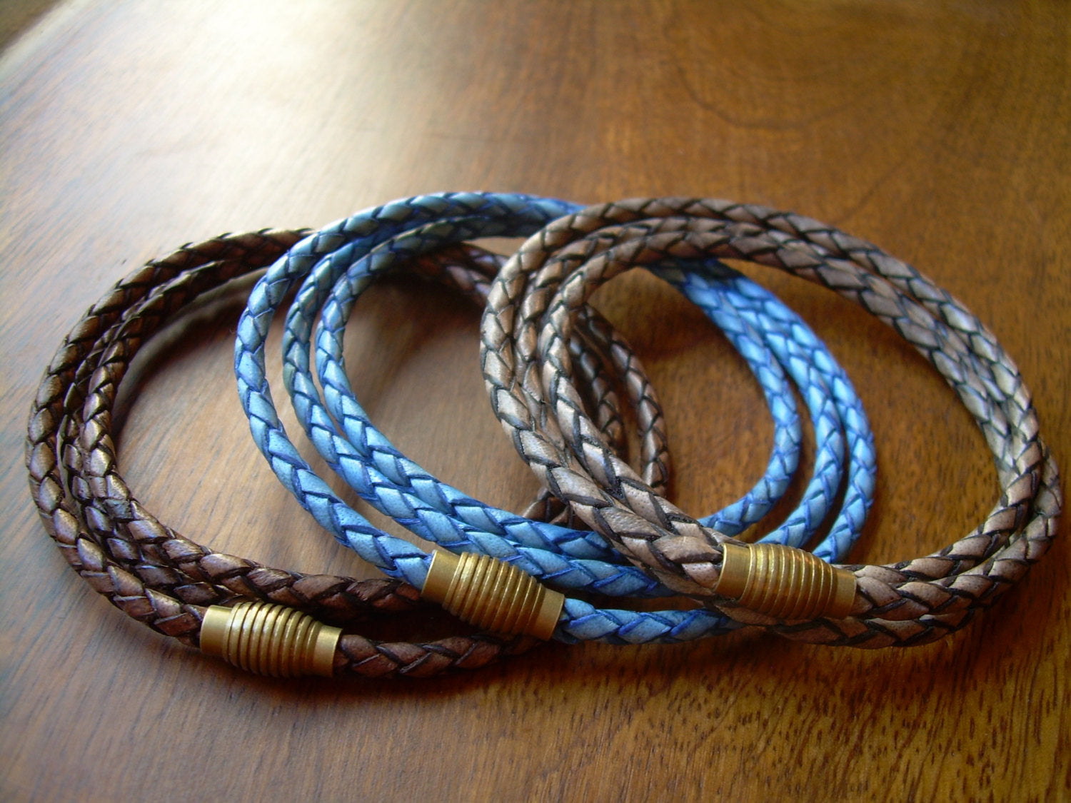 Thin Braided Leather Bracelet With Brass Magnetic Clasp Wrap