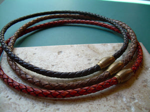 Magnetic Clasp Braided Leather Necklace, Leather Necklace, Mens Necklace, Mens Jewelry, Mens Gift, Gift for Him, Leather Jewelry, His - Urban Survival Gear USA