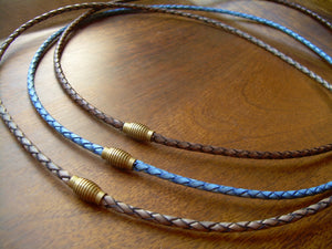 Thin Braided Leather Necklace With Brass Magnetic Clasp - Urban Survival Gear USA