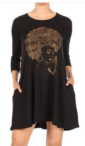 Afro Lady Praying Hands Tunic Dress - Elan of Eulalia