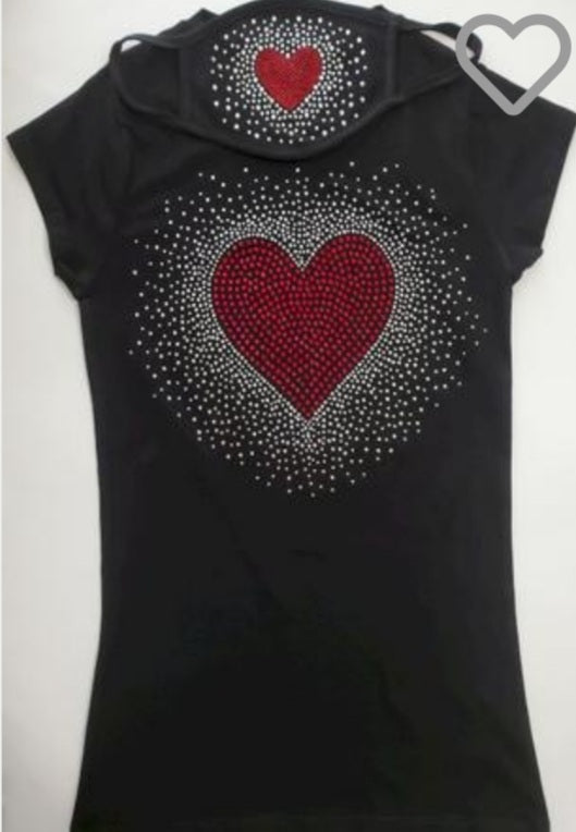 Red Heart Bling Tshirt with Matching Mask - Elan of Eulalia
