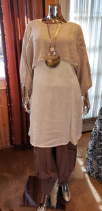 Load image into Gallery viewer, JASMINE'S WERK KHAKI + CREAM 3 PC LINEN BUBBLE SUIT