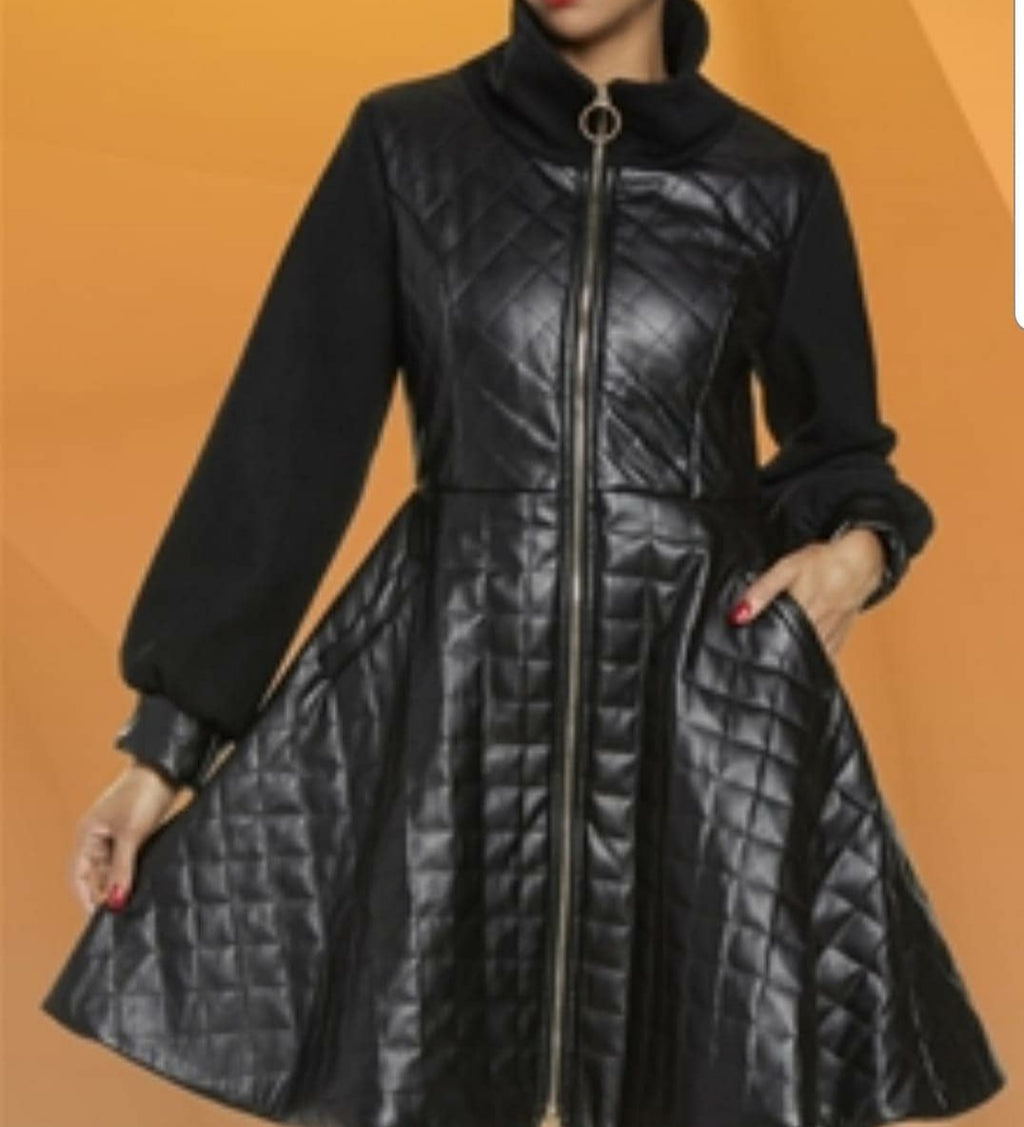 Quilted Vegan Leather Dress/Coat - Elan of Eulalia