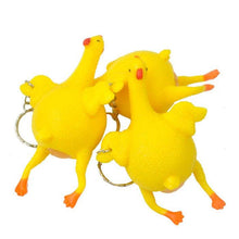 Load image into Gallery viewer, Funny Squishy Squeeze Toys Chicken and Eggs Key Chain Ornaments - 10 Pack