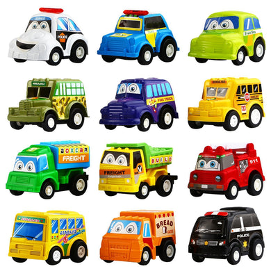 Wholesale 12 Pack Assorted Mini Plastic Vehicle Set, Funcorn Toys Pull Back Truck