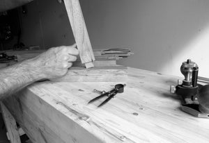 Craftsman fitting the joint of the dog bed frame