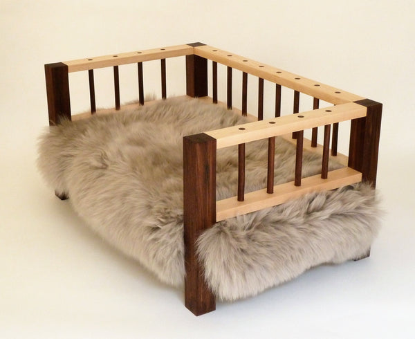 Slumber Wolf Belvoir Dog Bed in Walnut and Maple with stone wool topper