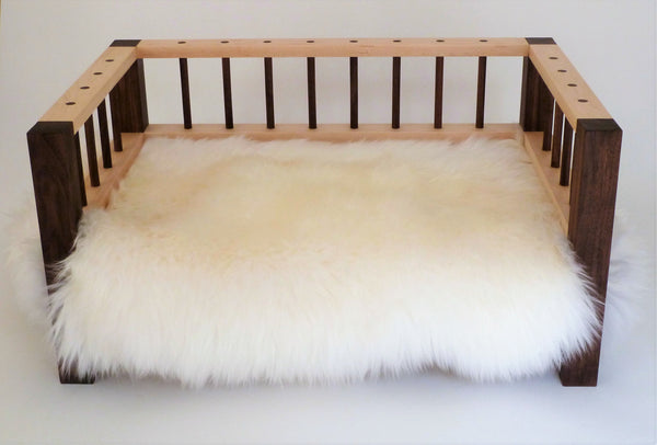 Slumber Wolf Belvoir Dog Bed in Walnut and Maple with white wool topper