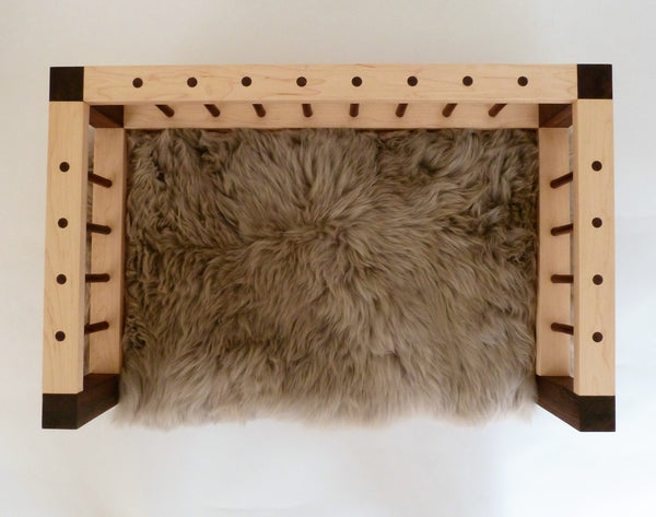 Slumber Wolf Belvoir Dog Bed in Walnut and Maple with stone wool topper showing unique design and quality finish