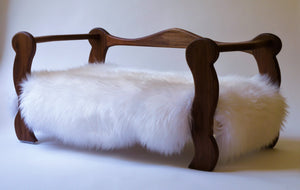 Slumber Wolf Pomeroy Dog Bed with Walnut frame and white wool topper