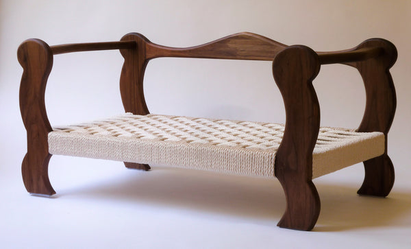 Slumber Wolf Pomeroy Dog Bed with Walnut frame and wool topper removed to show rope weave