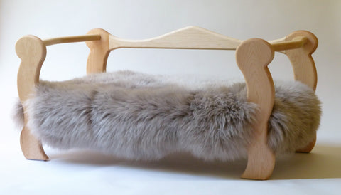 Slumber Wolf Pomeroy Dog Bed with maple frame and stone wool topper
