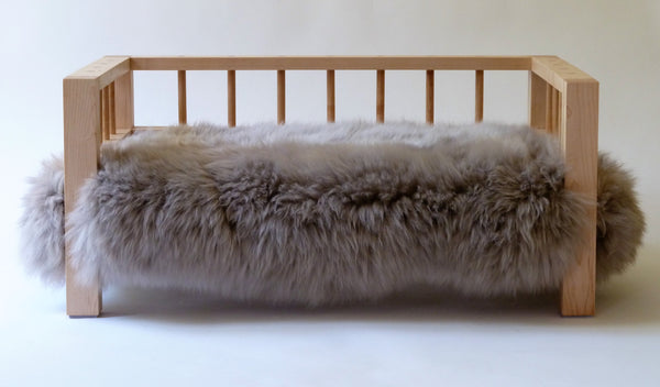 Maple Belvoir Slumber Wolf dog bed with stone wool topper from the front