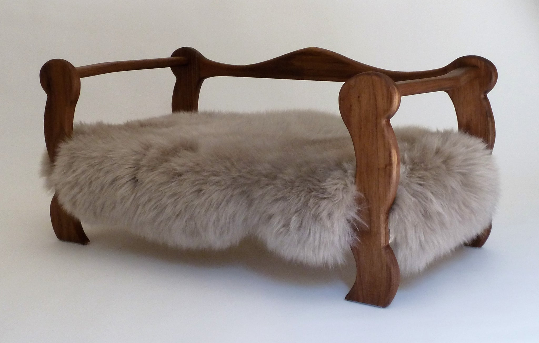 Slumber Wolf Pomeroy Dog Bed with Walnut frame and stone wool topper