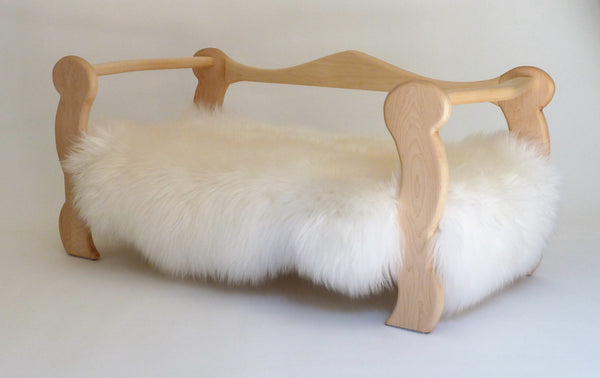 Slumber Wolf Pomeroy Dog Bed with maple frame and white wool topper