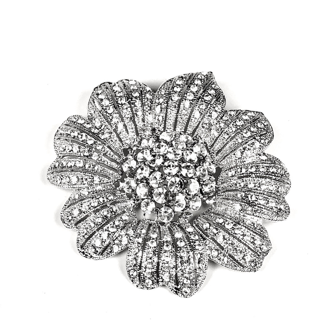 Large Vintage Style Crystals Flower Pin