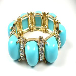 Turquoise Cabochon and Crystals Stretch Bracelet