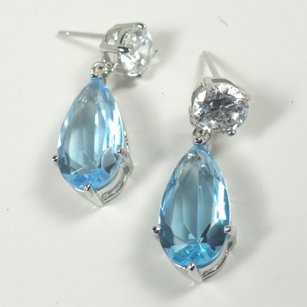Blue CZ Sterling Silver Drop Earrings