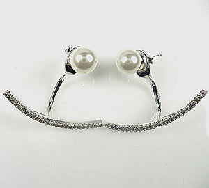 Sterling Silver Pearl and CZ Front-Back Earrings
