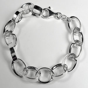 Italian Sterling Silver Oval Links Bracelet (7.5 inches)