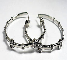 Sterling Silver CZ Bamboo Hoop Earrings