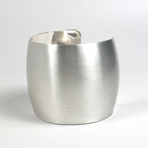 Brushed Silvertone Wide Cuff