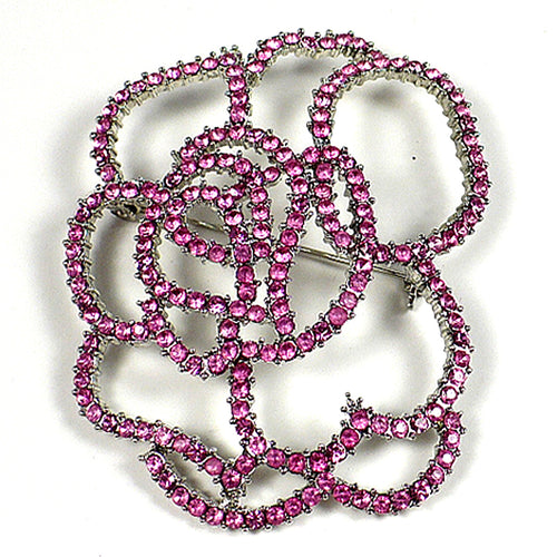 Pink Crystal Outline Flower Brooch