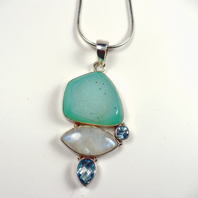 Multi-Gemstone Pendant in Sterling Silver