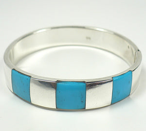 Turquoise Inlay Sterling Silver Hinged  Bracelet