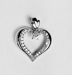 Sterling Silver CZ  Open  Heart Pendant On Chain