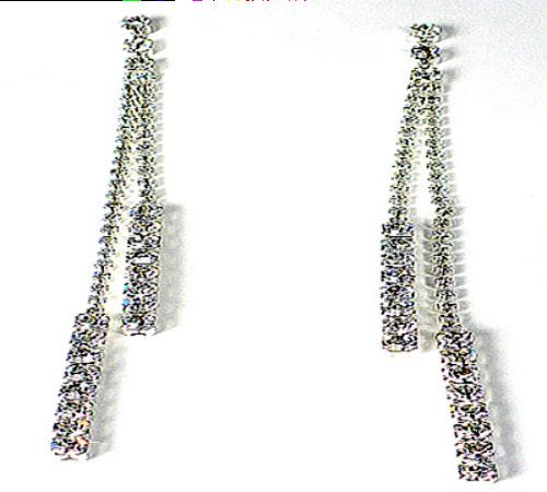 Silvertone and Crystal Line Drop Earrings