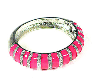 Fancy Pink Enamel and Crystals Hinged Bangle