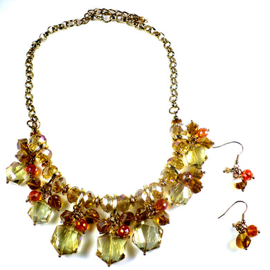 Crystals Bib Statement Necklace Set