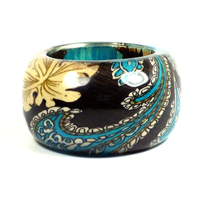 Colorful Paisley Print Cuff Bangle