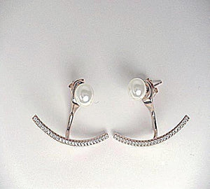 Rose Gold Pearl Front-Back Earrings