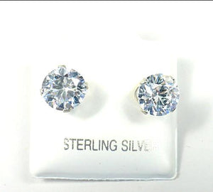 Sterling Silver 9mm Clear Cubic Zirconia Stud Earrings