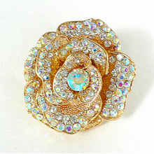 Large Pave Crystals Rose Ring