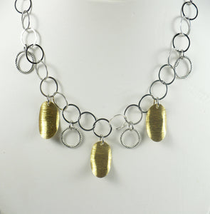 Gold Vermeil Leaves and Sterling Silver Necklace