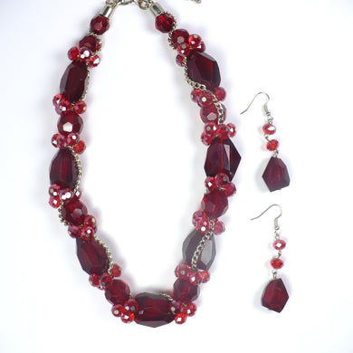 Faceted Red Beads Necklace and Earrings Set